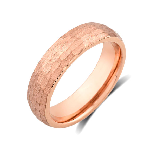 Rose Gold Tungsten Wedding Band - Hammer Finished Engagement Ring - 6mm - Unique Jewelry