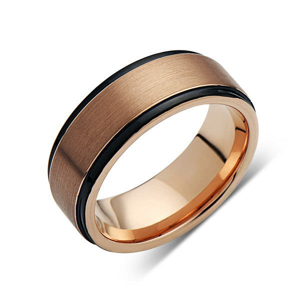 Rose Gold Tungsten Wedding Band - Black Edges - Brushed Rose Gold Tungsten Ring - 6mm - Mens Ring - Tungsten Carbide - Engagement Band - Comfort Fit - LUXURY BANDS LA