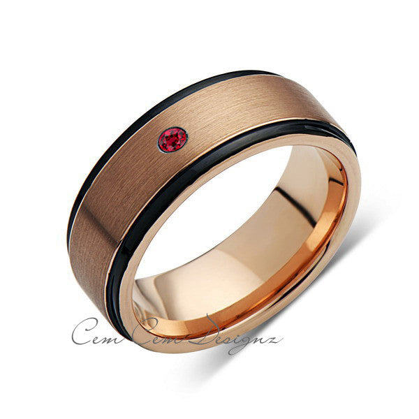 8mm,New,Red Ruby,Rose Brushed,Rose Gold,Black Grooves,Tungsten Ring,Mens Wedding Band,Comfort Fit - LUXURY BANDS LA