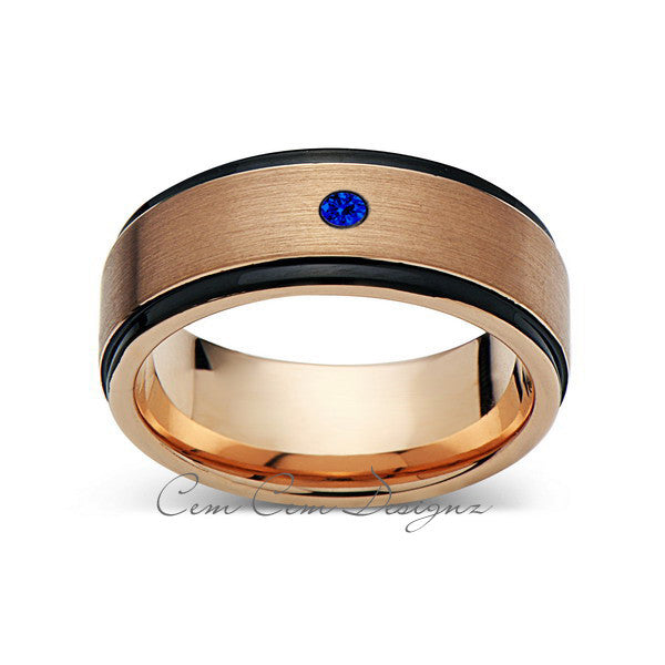 8mm,New,Blue Sapphire,Rose Brushed,Rose Gold,Black Grooves,Tungsten Ring,Mens Wedding Band,Comfort Fit - LUXURY BANDS LA