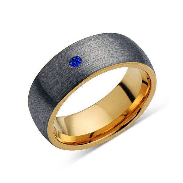 8mm,Mens,Blue Sapphire,Gray Brushed,Yellow Gold,Tungsten Ring,Rose Gold,Wedding Band,Comfort Fit - LUXURY BANDS LA