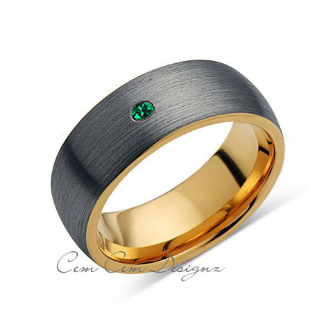 8mm,Mens,Green Emerald,Gray Brushed,Yellow Gold,Tungsten Ring,Yellow Gold,Birthstone,Wedding Band,Comfort Fit - LUXURY BANDS LA