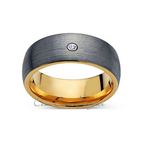 8mm,Mens,Diamond,Gray Brushed,Yellow Gold,Tungsten Ring,Yellow Gold,Wedding Band,Comfort Fit - LUXURY BANDS LA
