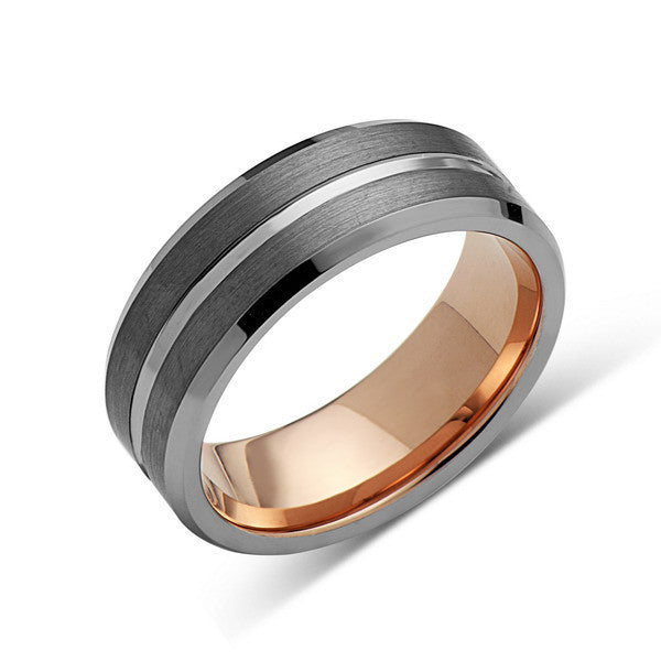 Rose Gold Tungsten Wedding Band - Gray Groove Brushed Ring - 8mm Ring - Unique Engagment Band - Comfor Fit - LUXURY BANDS LA