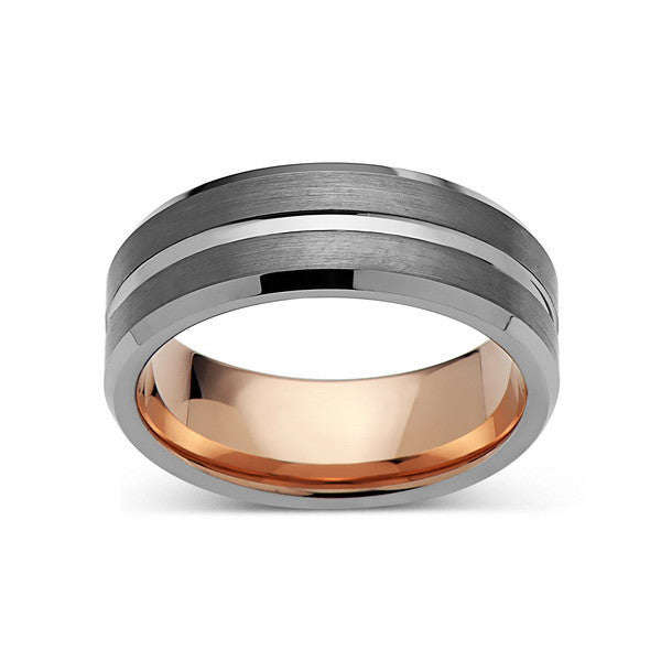 Rose Gold Tungsten Wedding Band - Gray Brushed Ring - 8mm Ring - Unique Engagment Band - Comfor Fit