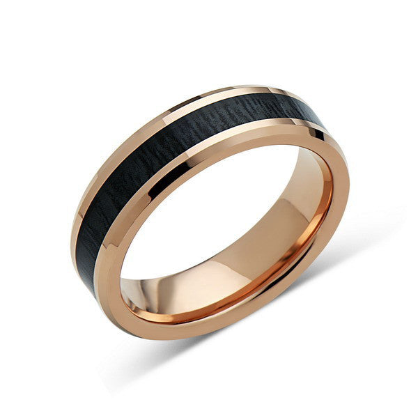 Koa Wood Wedding Ring - Rose Gold Tungsten Band - Hawaiian Dark Koa Wood - 6mm - Mens - Comfort Fit - LUXURY BANDS LA
