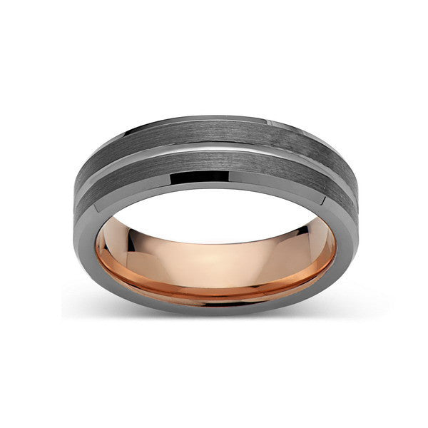 Rose Gold Tungsten Wedding Band - Gray Brushed Ring - 6mm Ring - Unique Engagment Band - Comfor Fit - LUXURY BANDS LA
