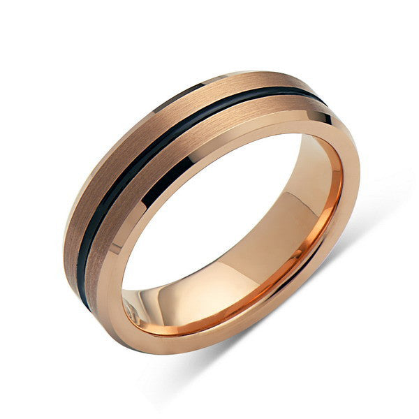 Rose Gold Tungsten Wedding Band - Black Grooved - Brushed Rose Gold Tungsten Ring - 6mm - Mens Ring - Tungsten Carbide - Engagement Band - Comfort Fit - LUXURY BANDS LA