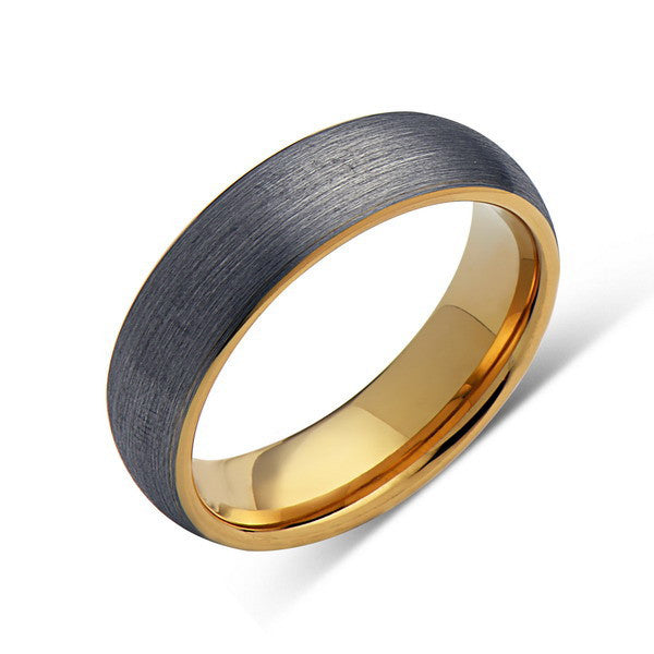 Yellow Gold Tungsten Wedding Band - Gray Brushed Tungsten Ring - 6mm - Mens Ring - Tungsten Carbide - Engagement Band - Comfort Fit - LUXURY BANDS LA