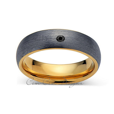 6mm,Mens,Black Diamond,Gray Brushed,Rose Gold,Tungsten Ring,Yellow Gold,Wedding Band,Comfort Fit - LUXURY BANDS LA