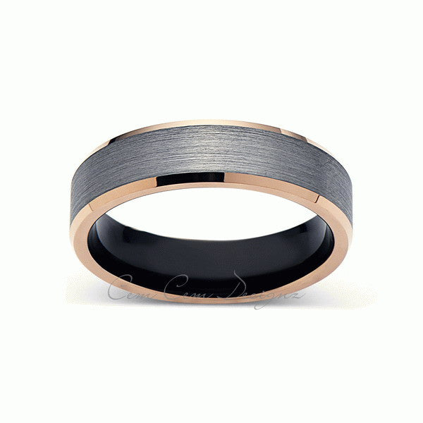 Gray and Rose Gold Tungsten Wedding Band - Black - Brushed Tungsten Ring - 6mm - Mens Ring - Tungsten Carbide - Engagement Band - Comfort Fit - LUXURY BANDS LA