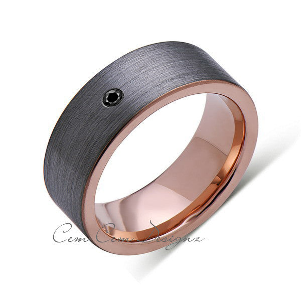 8mm,Pipe Cut,Mens,Black Diamond,Gray Brushed,Rose Gold,Tungsten Ring,Rose Gold,Wedding Band,Comfort Fit - LUXURY BANDS LA