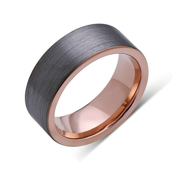 Rose Gold Tungsten Wedding Band - Gray Brushed Tungsten Ring - 8mm - Pipe Cut - Mens Ring - Tungsten Carbide - Engagement Band - Comfort Fit - LUXURY BANDS LA