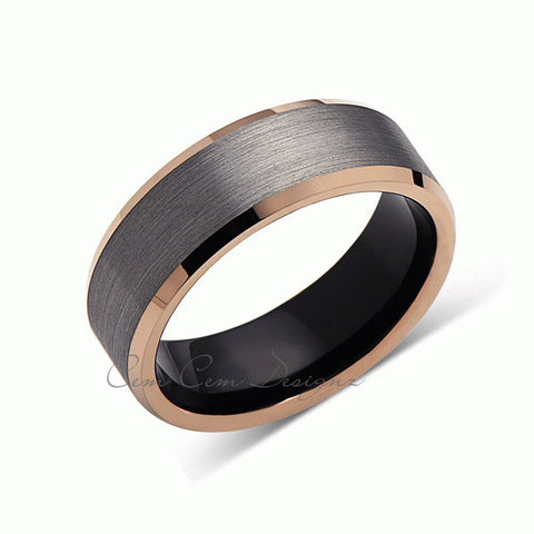 8mm,Gray Gun Metal Brushed,Rose Gold Edges,Tungsten RIng,Rose Gold,Unisex,Wedding Band,Comfort Fit - LUXURY BANDS LA