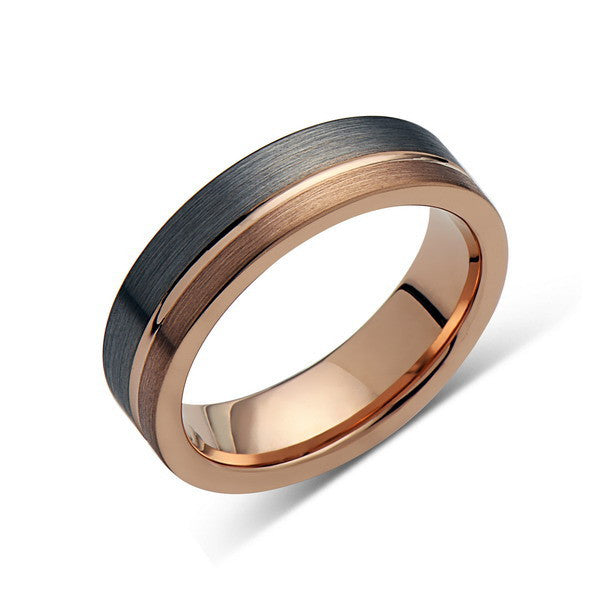 Rose Gold Tungsten Wedding Band - Gray Brushed Tungsten Ring - 6mm - Mens Ring - Tungsten Carbide - Engagement Band - Comfort Fit