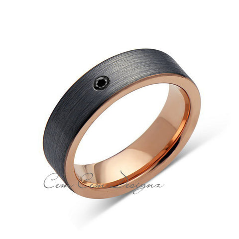6mm,Pipe Cut,Mens,Black Diamond,Gray Brushed,Rose Gold,Tungsten Ring,Rose Gold,Wedding Band,Comfort Fit - LUXURY BANDS LA