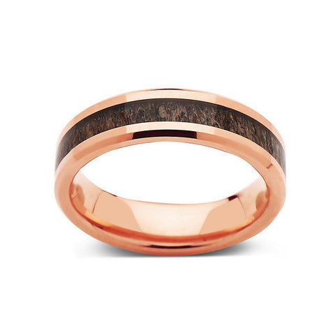 Deer Antler Ring - Rose Gold Tungsten Band - Deer Antler Band - 6mm - Mens - Comfort Fit - LUXURY BANDS LA