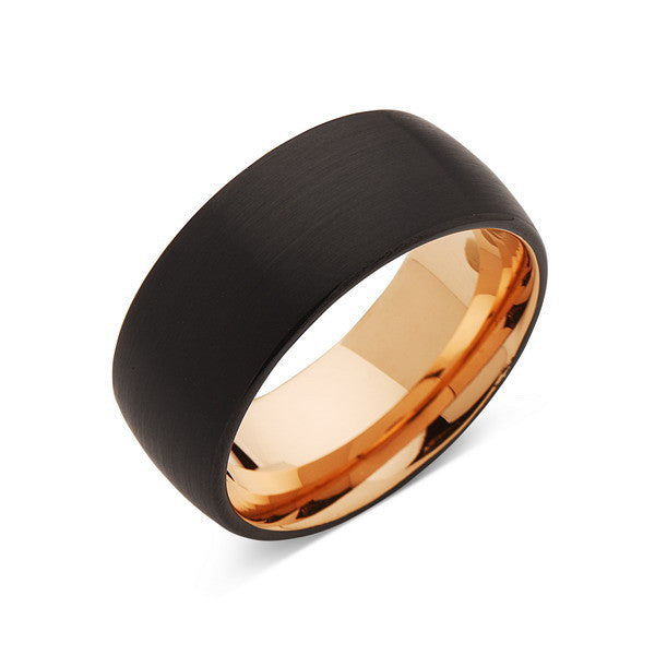 Rose Gold Tungsten Wedding Band - Black Brushed Ring - 10mm Ring - Unique Engagment Band - Comfor Fit - LUXURY BANDS LA