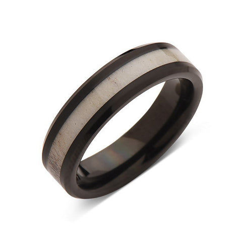 Deer Antler Ring - Black Tungsten Band - Deer Antler Band - 6mm - Mens - Comfort Fit - LUXURY BANDS LA