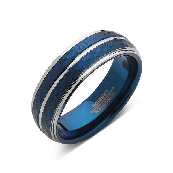 Blue Tungsten Wedding Band - Hammered Tungsten Ring - 8mm - Silver Stepped Edges - Mens Ring - Tungsten Carbide - Engagement Band - Comfort Fit - LUXURY BANDS LA