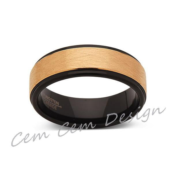 8mm,Brushed,Satin,Yellow Gold,Unique,Black and Yellow Tungsten Ring,Men's Wedding Band,Mens Band,Comfort Fit - LUXURY BANDS LA
