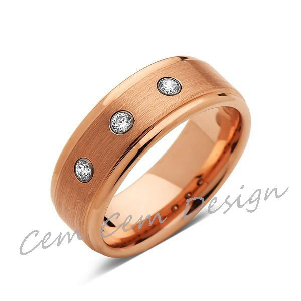 8mm,Mens,Diamond Engagement Ring,Rose Gold,Tungsten Wedding Band,Rose,Tungsten Ring,Comfort Fit - LUXURY BANDS LA