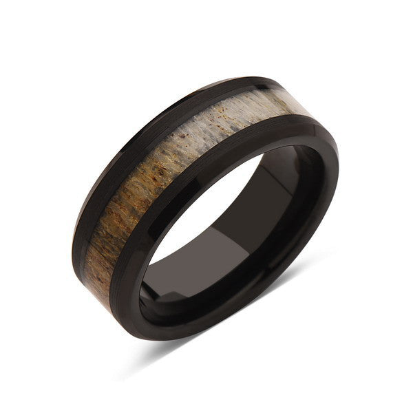 Deer Antler Ring - Black Tungsten Band - Deer Antler Band - 8mm - Mens - Comfort Fit - LUXURY BANDS LA