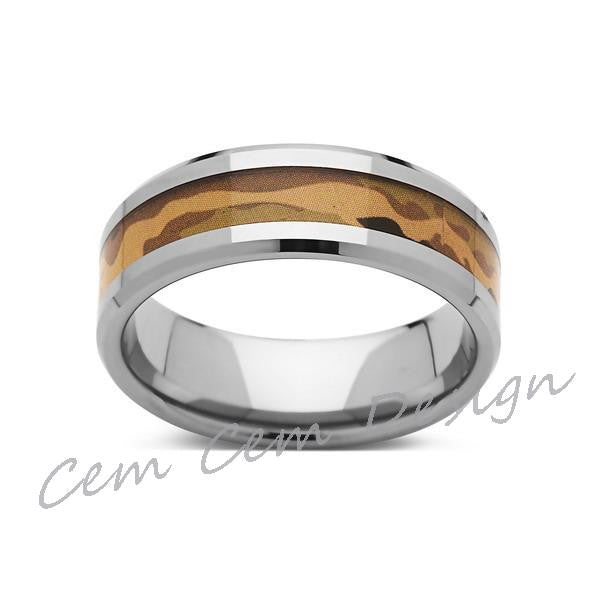 Tungsten Wedding Band - Camo - 8mm-  Mens Wedding Band - Camouflage Inlay - Unique Ring - LUXURY BANDS LA