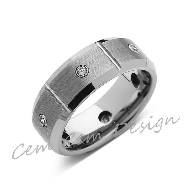 8mm,Mens,Diamond Engagement Ring,White Gold,Tungsten Wedding Band,Tungsten Ring,Comfort Fit - LUXURY BANDS LA