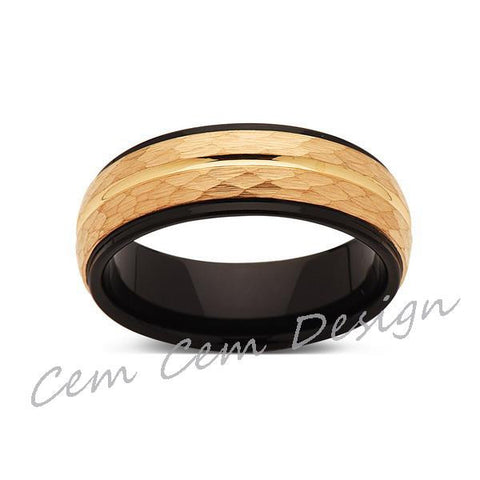8mm,Hammered,Yellow Gold,Unique,Black and Yellow Tungsten Ring,Men's Wedding Band,Mens Band,Comfort Fit - LUXURY BANDS LA