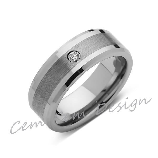 8mm,Mens,Brushed Gray,Diamond,White Gold,Wedding Band,unique,White Gold,Tungsten Ring,Comfort Fit - LUXURY BANDS LA