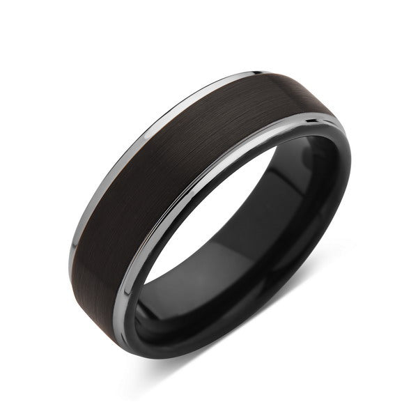 8mm,New,Unique,Black Brushed,Silver,Tungsten Rings,Wedding Band,Matching,Comfort Fit - LUXURY BANDS LA