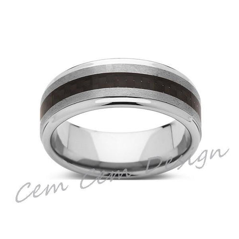 8mm,Unique,Brushed Gray,Black Carbon Fiber Ring,Tungsten Ring,Wedding Band,Unisex,Comfort Fit - LUXURY BANDS LA