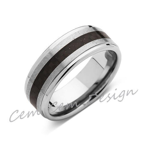 8mm,Unique,Brushed Gray,Black Carbon Fiber Ring,Tungsten Ring,Wedding Band,Unisex,Comfort Fit