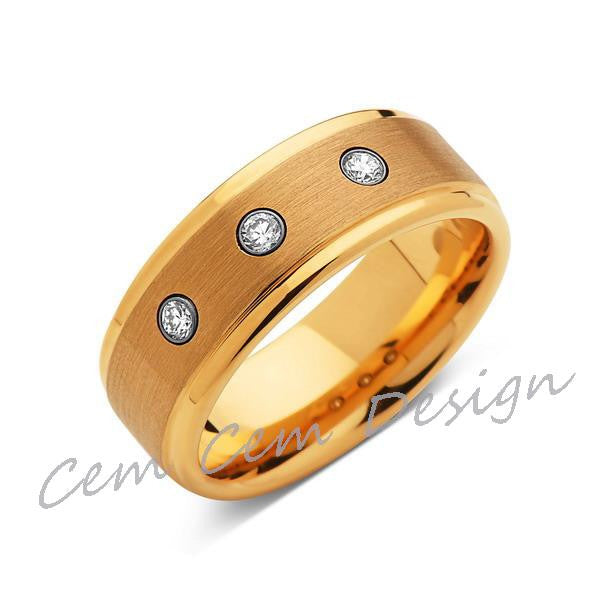 8mm,Mens,Diamond Engagement Ring,Yellow Gold,Tungsten Wedding Band,Yellow,Tungsten Ring,Comfort Fit - LUXURY BANDS LA
