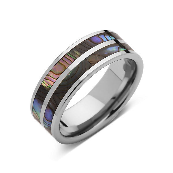 Mother of Pearl - Wedding Band - Unique Tungsten Ring - Pearl Engagement Ring - Mens Ring - LUXURY BANDS LA