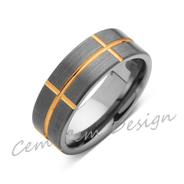 Yellow Gold Tungsten Ring - Brushed Gray Mens Wedding Band - Tungsten Ring - 8MM - Comfort Fit - LUXURY BANDS LA