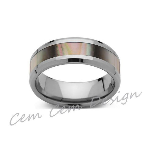 8mm,Unique,Mother of Pearl Inlay,Tungsten Ring,Wedding Band,Pearl inlay,Unisex,Comfort Fit - LUXURY BANDS LA