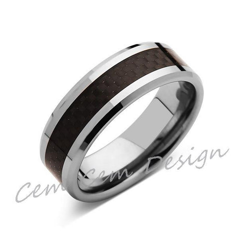 8mm,Unique,Black Carbon Fiber Ring,Tungsten Ring,Wedding Band,Unisex,Comfort Fit - LUXURY BANDS LA