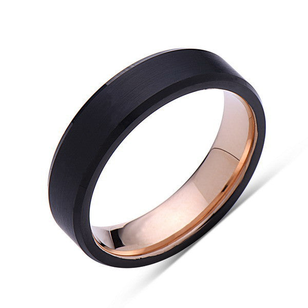Rose Gold Tungsten Wedding Band - Black Brushed Ring - 6mm Ring - Pipe Cut - Engagment Band - Comfor Fit - LUXURY BANDS LA
