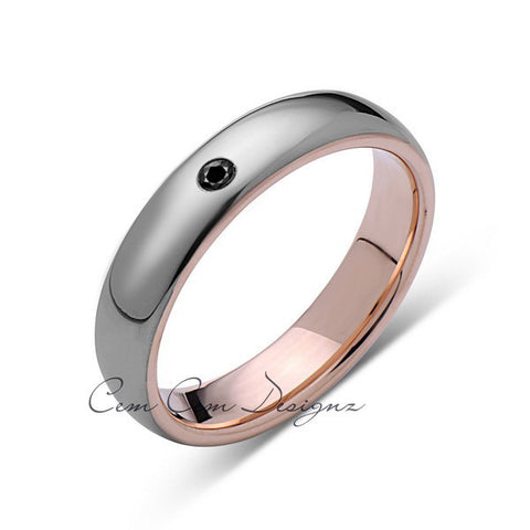 5mm,Unisex,Black Diamond,Gray,Rose Gold,Tungsten Ring,Rose Gold,Wedding Band,Comfort Fit - LUXURY BANDS LA