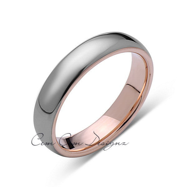 Rose Gold Tungsten Wedding Band - Gray High Polish Ring - 5mm Bridal Band - Engagement Ring - LUXURY BANDS LA