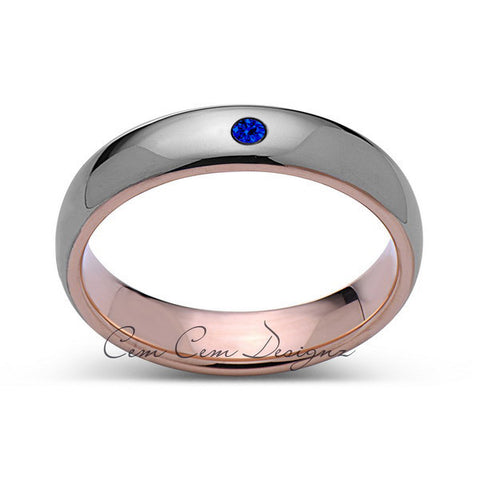 6mm,Mens,Blue Sapphire,Gray ,Rose Gold,Tungsten Ring,Rose Gold,Wedding Band,Comfort Fit - LUXURY BANDS LA