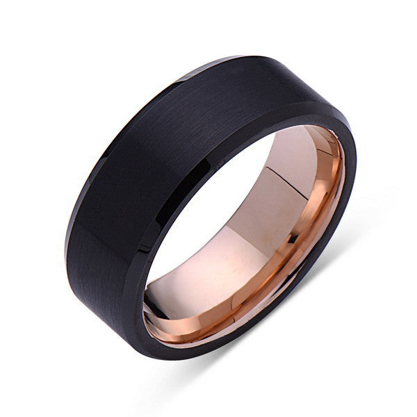 Rose Gold Tungsten Wedding Band - Black Brushed Ring - 8mm Ring - Pipe Cut - Engagment Band - Comfor Fit - LUXURY BANDS LA