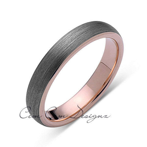 Rose Gold Tungsten Wedding Band - Gray Brushed Ring - 4mm Bridal Band - Engagement Ring - LUXURY BANDS LA
