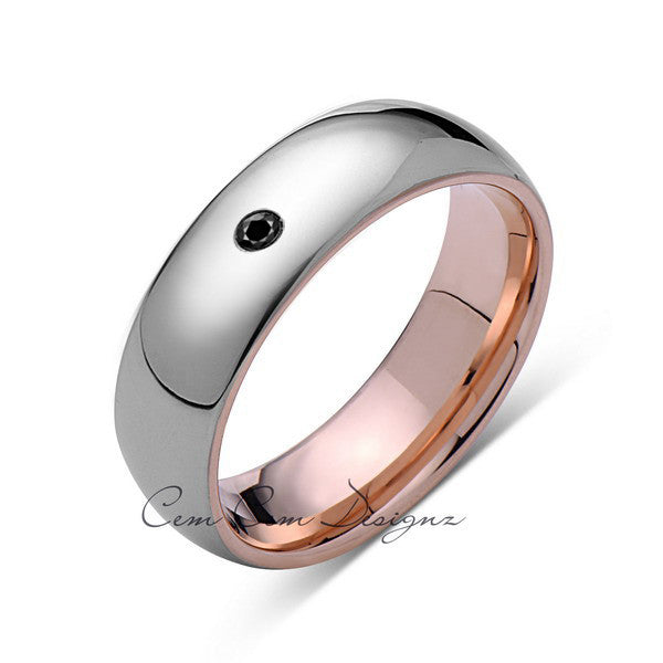 7mm,Mens,Black Diamond,Gray,Rose Gold,Tungsten Ring,Rose Gold,Wedding Band,Comfort Fit - LUXURY BANDS LA
