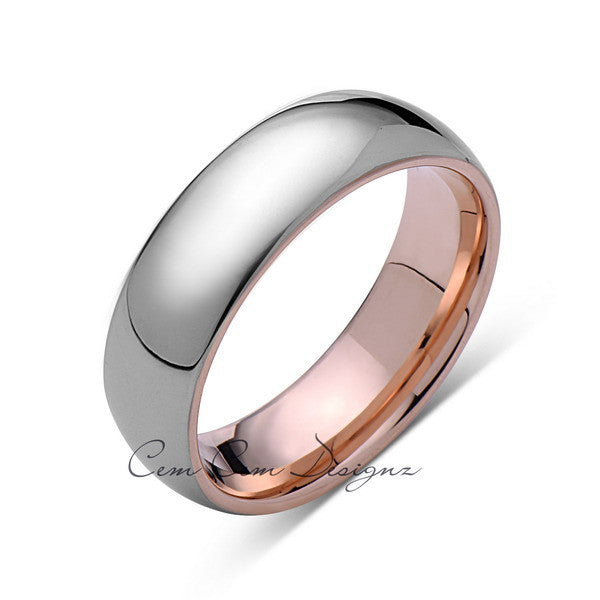 7mm,Unique,High Polish,Rose Gold,Tungsten Ring,Wedding Band,His and Hers - LUXURY BANDS LA
