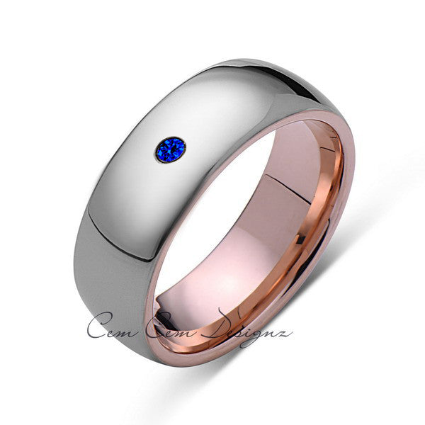 8mm,Mens,Blue Sapphire,Gray ,Rose Gold,Tungsten Ring,Rose Gold,Wedding Band,Comfort Fit - LUXURY BANDS LA