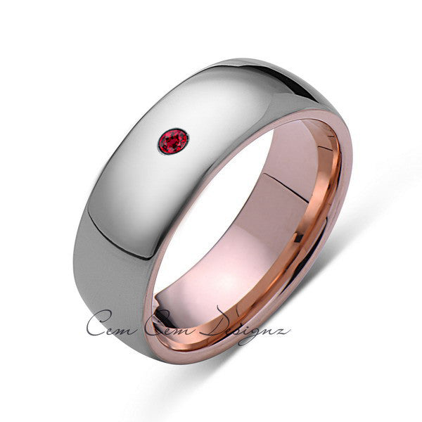 8mm,Mens,Red Ruby,Gray ,Rose Gold,Tungsten Ring,Rose Gold,Birthstone,Wedding Band,Comfort Fit - LUXURY BANDS LA