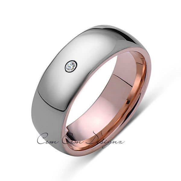 8mm,Mens,Diamond,Gray,Rose Gold,Tungsten Ring,Rose Gold,Wedding Band,Comfort Fit - LUXURY BANDS LA